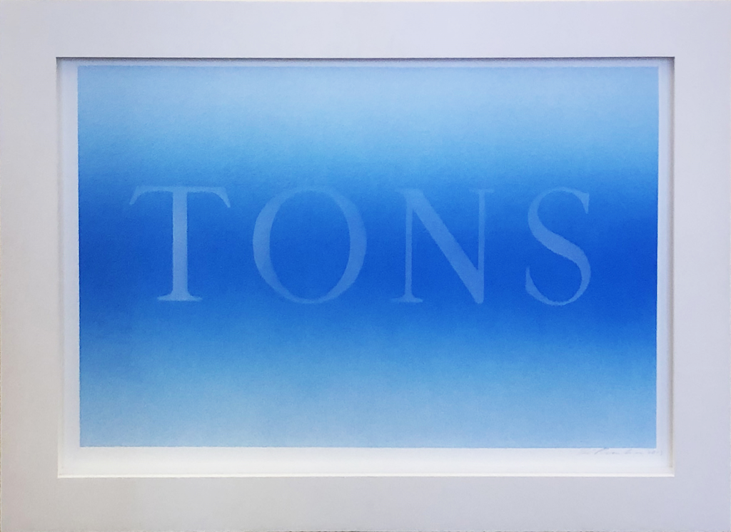Ed Ruscha, <i>Tons</i>, 2013, Acrylic on museum board paper, 15 x 22 in (38.10 x 55.88 cm)