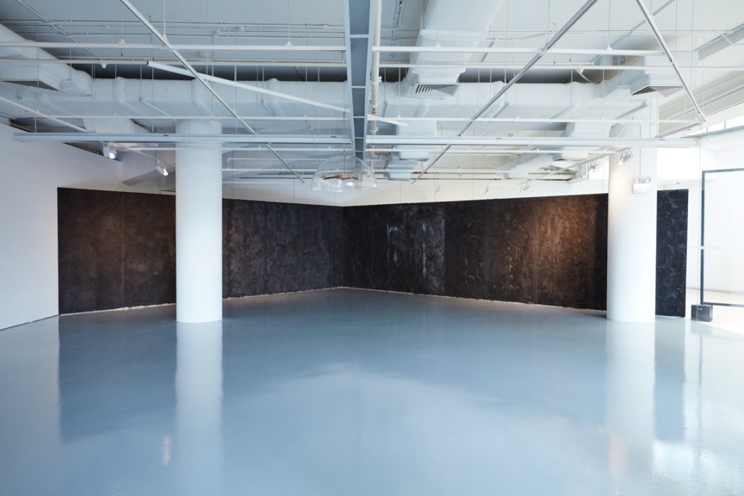 Boedi Widjaja, <i>Black—Hut</i>, 2016, Steel, wood, calcium silicate panels, pigment, concrete, mica, salt; accompanied by sound installation, dimensions variable