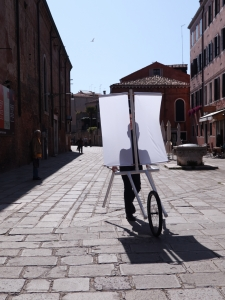 Boedi Widjaja, <i>PATH. 8, INVISIBLE CITIES 。 云海游</i>, 2016, Live art, performed at the 57th Venice Biennale, with 'sail carriage' and artist-made graphite frottages, dimensions variable
