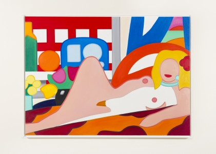 Tom Wesselmann, <i>Sunset Nude with Wesselmann Still Life</i>, 2004, Oil on canvas, 56h x 77w in (142.24h x 195.58w cm)