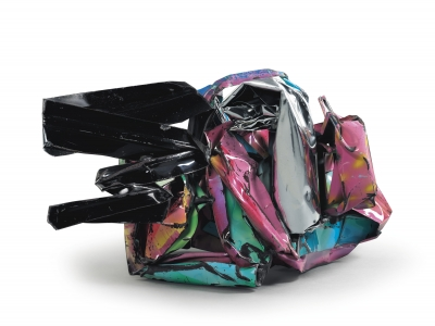 John Chamberlain, <i>Schadenfreude</i>, 1993, Paint and Chromium-plated steel, 27h x 48w x 25d in (68.58h x 121.92w x 63.50d cm)