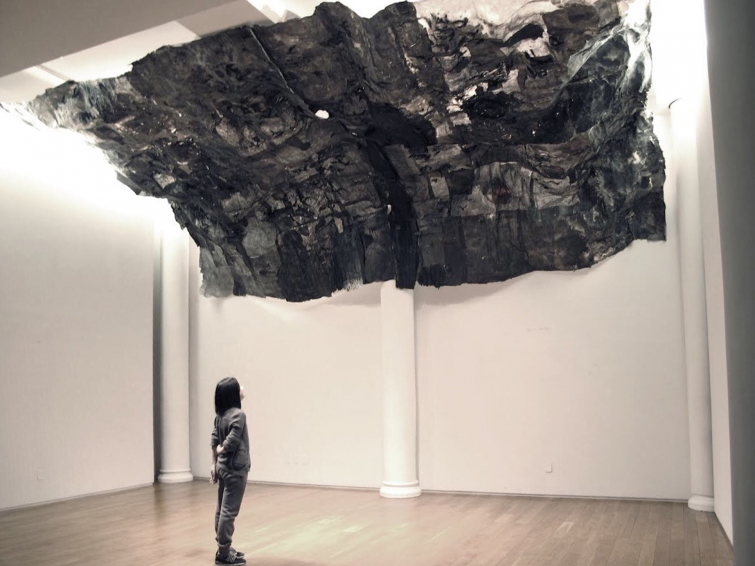 Lin Yan, <i>Inhale</i>, 2014, ink, Xuan paper and LED light, 30 x 13 x 6 ft. (910 x 396 x 182 cm), Photograph by Jiaxi Yang. ©Lin Yan, Courtesy Tenri Cultural Institute and Fou Gallery.