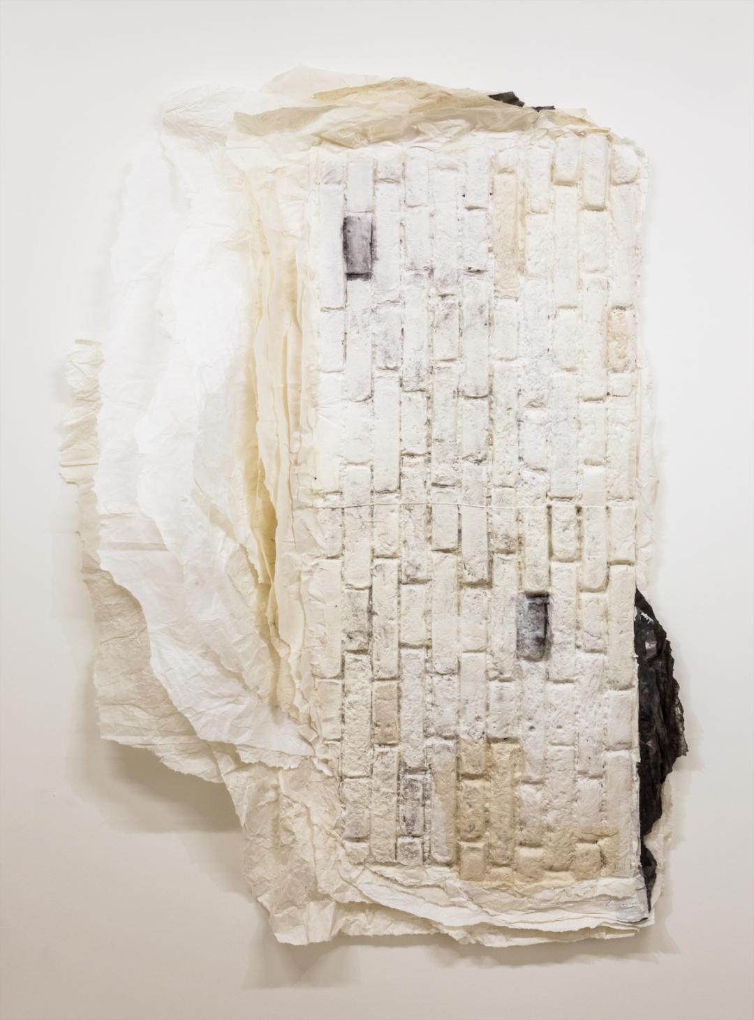Lin Yan, <i>Monument 8</i>, 2008, Xuan paper, ink, 103 x 50 x 8 in. (262 x 127 x 21 cm)