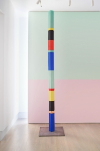 Anton Ginzburg, <i>Polychrome Column 10A_02</i>, 2019, Porcelain with steel structure and base, 10 ft x 7 in (diameter) (each module 20 in x 7 in diameter