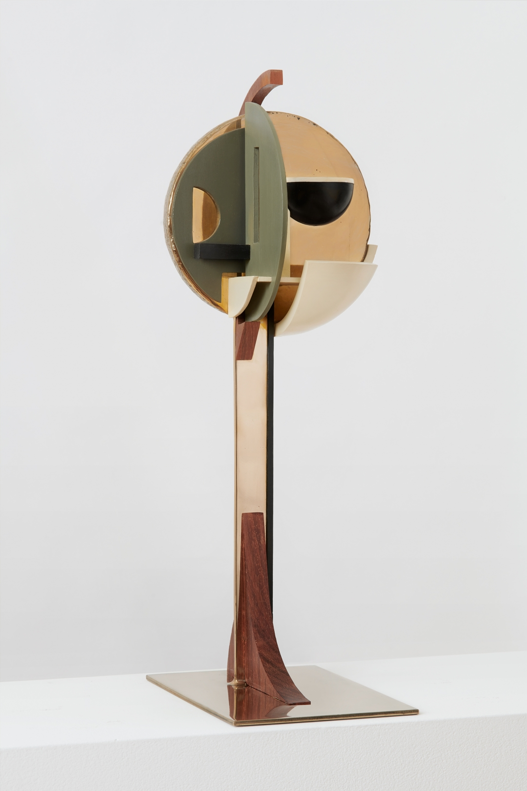 Christina Kruse, <i>Man 1</i>, 2016, bronze, wood, acrylic paint, and wax, 9.75 x 6.75 x 22.15 in.