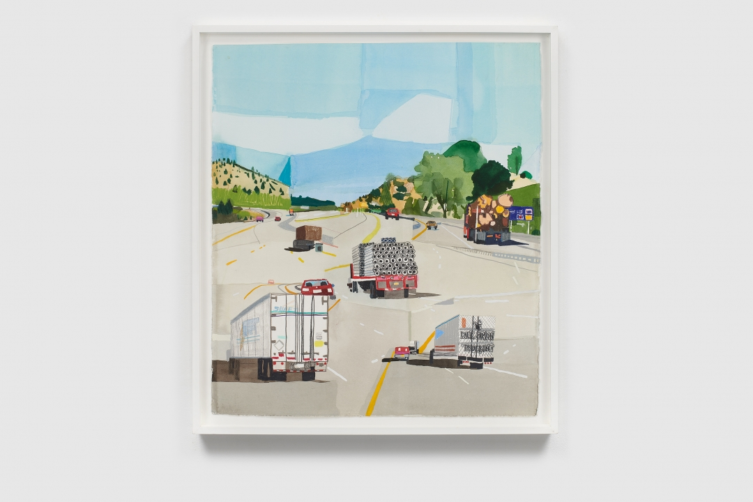 Jonas Wood, <i>NW Road</i>, 2006, watercolor and colored pencil on paper, 26 x 23 in (66.0 x 58.4 cm)