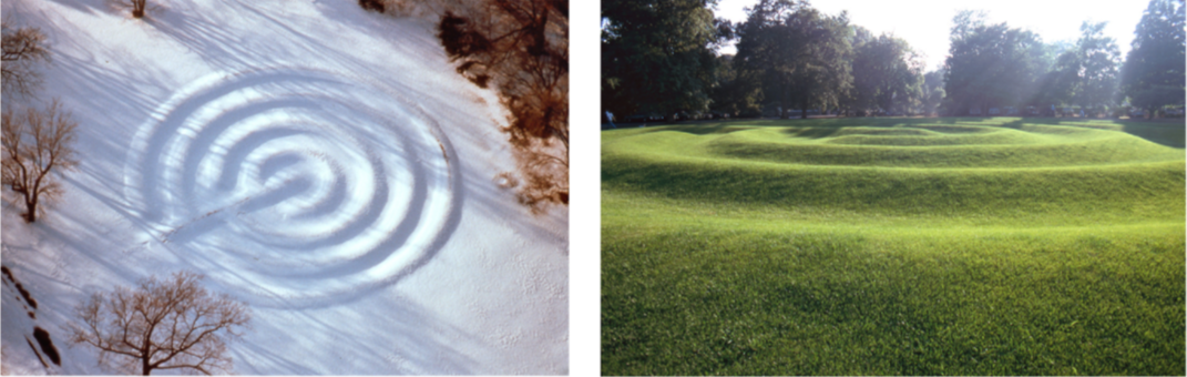 Richard Fleischner, <i>Sod Maze</i>, 1974, sod over earth, 18 x 142 feet. Aerial and ground view of site at Chateau-Sur-Mer, Newport, Rhode Island, Monumenta