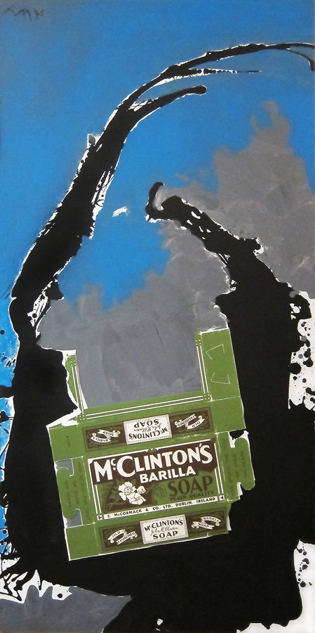Robert Motherwell, <i>Dublin Collage</i>, 1975, acrylic and collage on canvas mounted on Masonite, 72 x 36 in (182.9 x 91.4 cm)