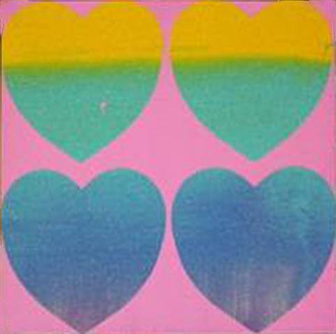 Andy Warhol, <i>Hearts (4)</i>, 1982, acrylic, silkscreen ink and diamond dust on canvas, 15 x 15 in. (not available)
