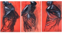 Jim Dine, <i>Three Red Dancers (triptych)</i>, 1989, charcoal, oil stick, and acrylic on paper, 62 x 39 1/2 in. (157.5 x 100.3 cm) each