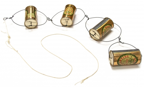 Alexander Calder, <i>Untitled (Pull Toy)</i>, c. 1958, Tin cans and wire, 33 1/2h x 6w x 3d in