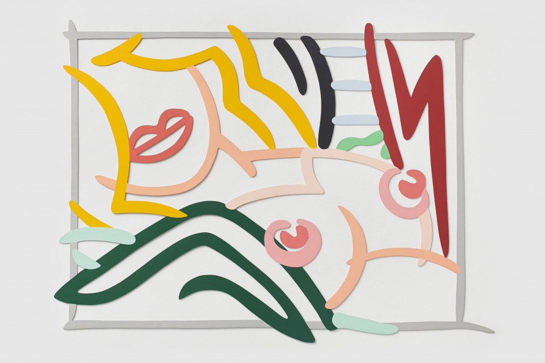 Tom Wesselmann, <i>Bedroom Blond, Black and Green Pillows</i>, 1986, Enamel on cut-out aluminum, 53 1/2 x 73 1/2 in. (136 x 187 cm)