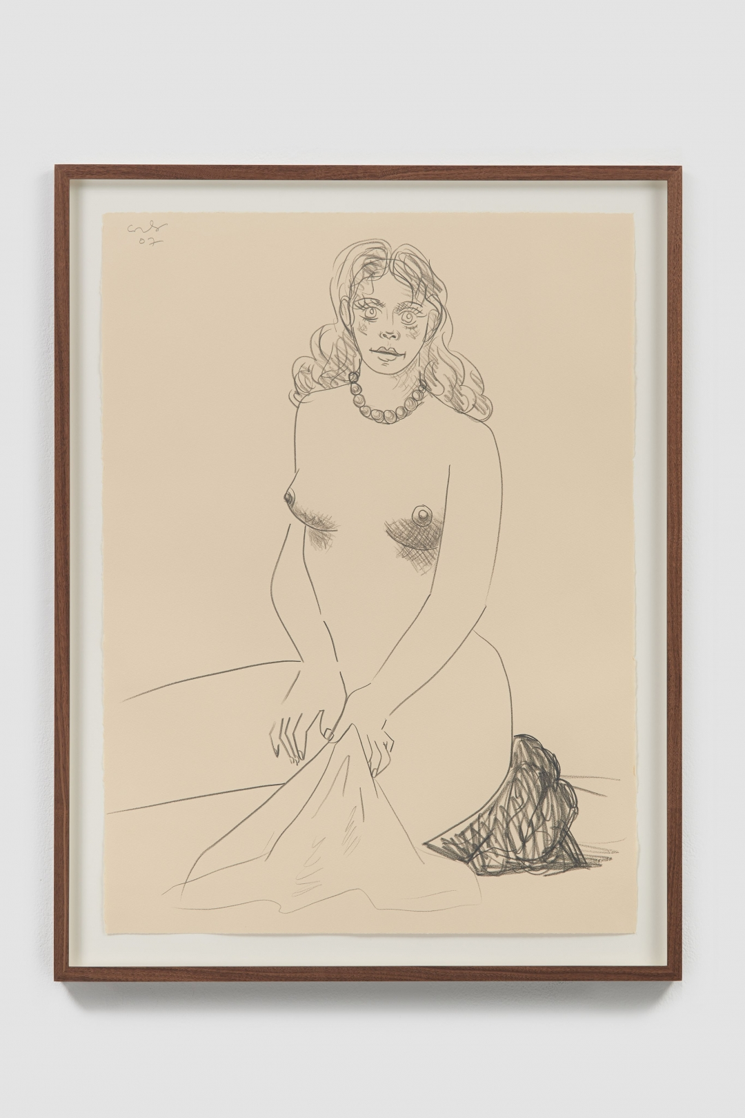 George Condo, <i>Nude with Towel</i>, 2007, Pencil on paper, 12 x 22 1/2 in. (31 x 57 cm)