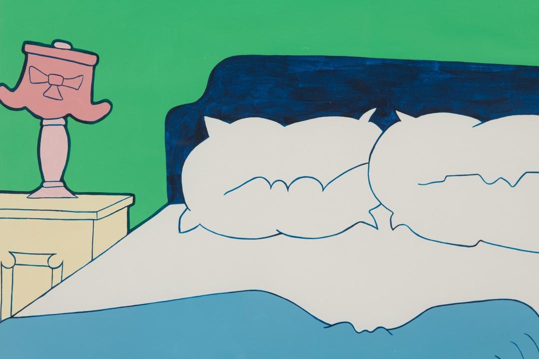 John Wesley, <i>B's Bed</i>, 1973-4, gouache on paper, 21 x 26 in. (53.34 x 66.04 cm)