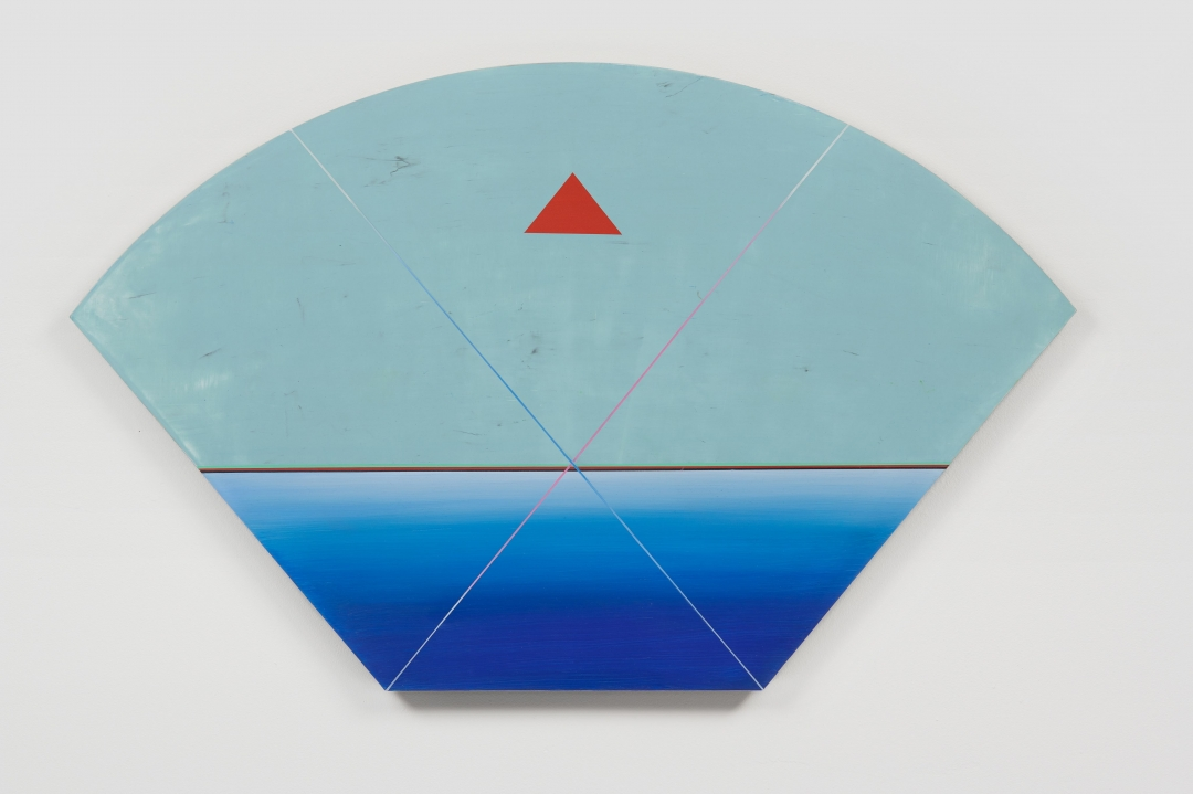 Anton Ginzburg, <i>VIEW_3A_04</i>, 2018, Pigment and acrylic on wood, 22.5 x 36 in.