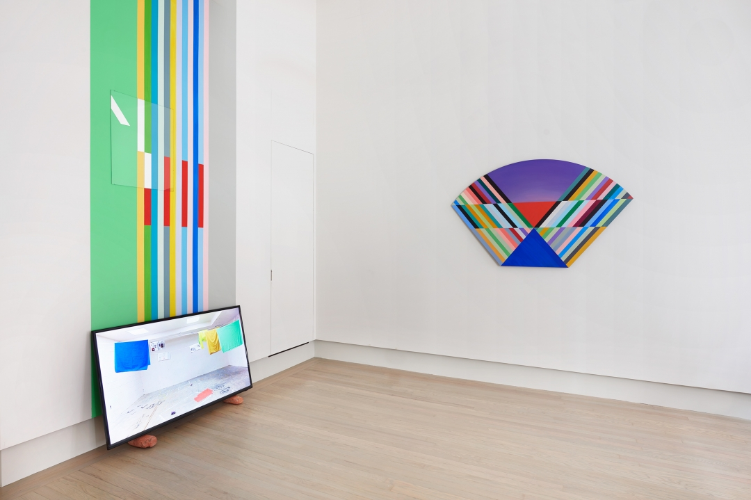 Anton Ginzburg, <i>New York Color-Space Initiative #5 and COEV Composition #12</i>, 2019, Interior flat wall enamel, acrylics and mirrored glass, Mirrored glass panel 24 x 18 in, wall enamel 11 x 4 ft