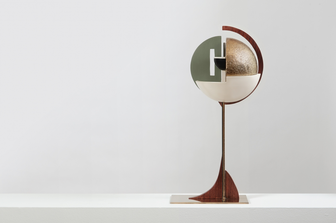 Christina Kruse, <i>Man 1</i>, 2016, bronze, wood, acrylic paint, and wax, 9.75 x 6.75 x 22.15 in.