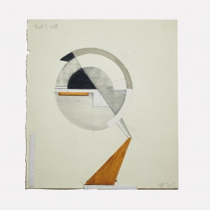 Christina Kruse, <i>Head 4 wb</i>, 2017, Graphite, acrylic and wood on paper, 9 x 8 in.