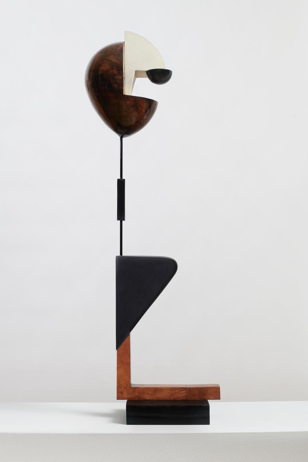 Christina Kruse, <i>Matrose</i>, 2019, Wood, oil, acrylic paint, metal, ink, wax, and varnish, 36 x 5.5 x 10.5 in.