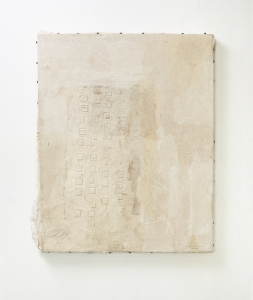 Lin Yan, <i>Between Day and Night 4, 2018</i>, , ink, Xuan paper and nails on wood panel, 20 x 17.75 in, 50.8 x 45.1 cm