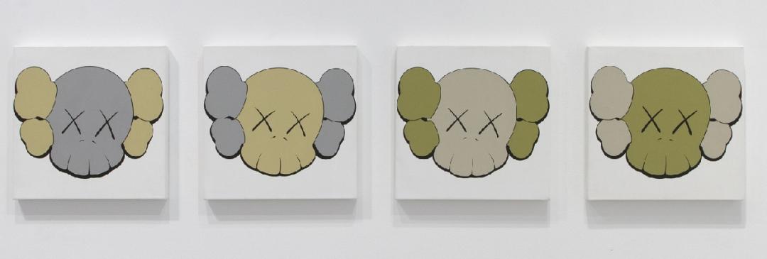 KAWS, <i>Untitled (Camo Skulls)</i>, 2000, acrylic on canvas, 16 x 16 in. (each)/ 40.6 x 40.6 cm (each) [SOLD]