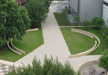 Richard Fleischner, <i>MIT Project, Lower Courtyard</i>, 2008-2010, cast concrete, paving, landscaping, lighting, and all aspects of the site, Aerial view of sculpture court and outside areas between the Wiesner Building (I.M. Pei, Architect) and the Health Services Building (Ronald Giurgola, Architect), Massachusetts Institute of Technology, Cambridge, Mass.