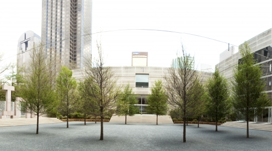 Richard Fleischner, <i>Dallas Museum of Art, Courtyard Project</i>, project executed 1981-83, restored 2009-10, all aspects of the courtyard, including stairs, plantings, limestone, marble, and wood. Edward Larrabee Barnes, Architect., 115 x 115 feet. Dallas Museum of Art, Texas.