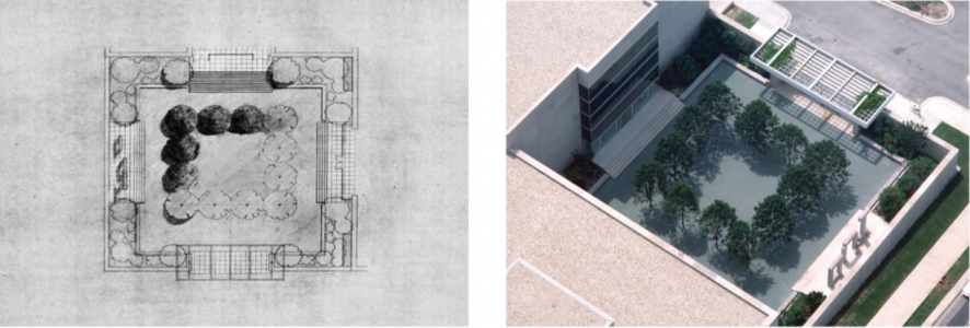 Richard Fleischner, <i>Dallas Museum of Art, Courtyard Project</i>, project executed 1981-83, restored 2009-10, left: drawing plan, colored pencil on vellum; right: aerial view of original courtyard, Dallas Museum of Art, plan: 36 x 42 inches (91.5 x 107 cm); courtyard: 115 x 115 feet