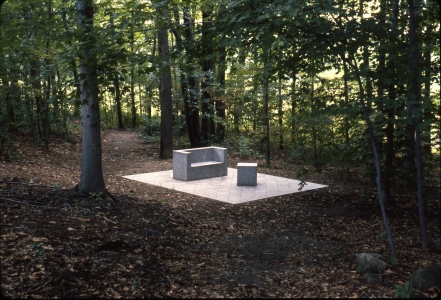 Richard Fleischner, <i>Becton Dickinson Project</i>, 1985-87, detail of one aspect of site, depicting granite inlay with elements in woods. Work included exterior garden terrace area, with stepped grass plane, and inlay in woods. Work included all aspects of the site in Franklin Lakes, New Jersey,