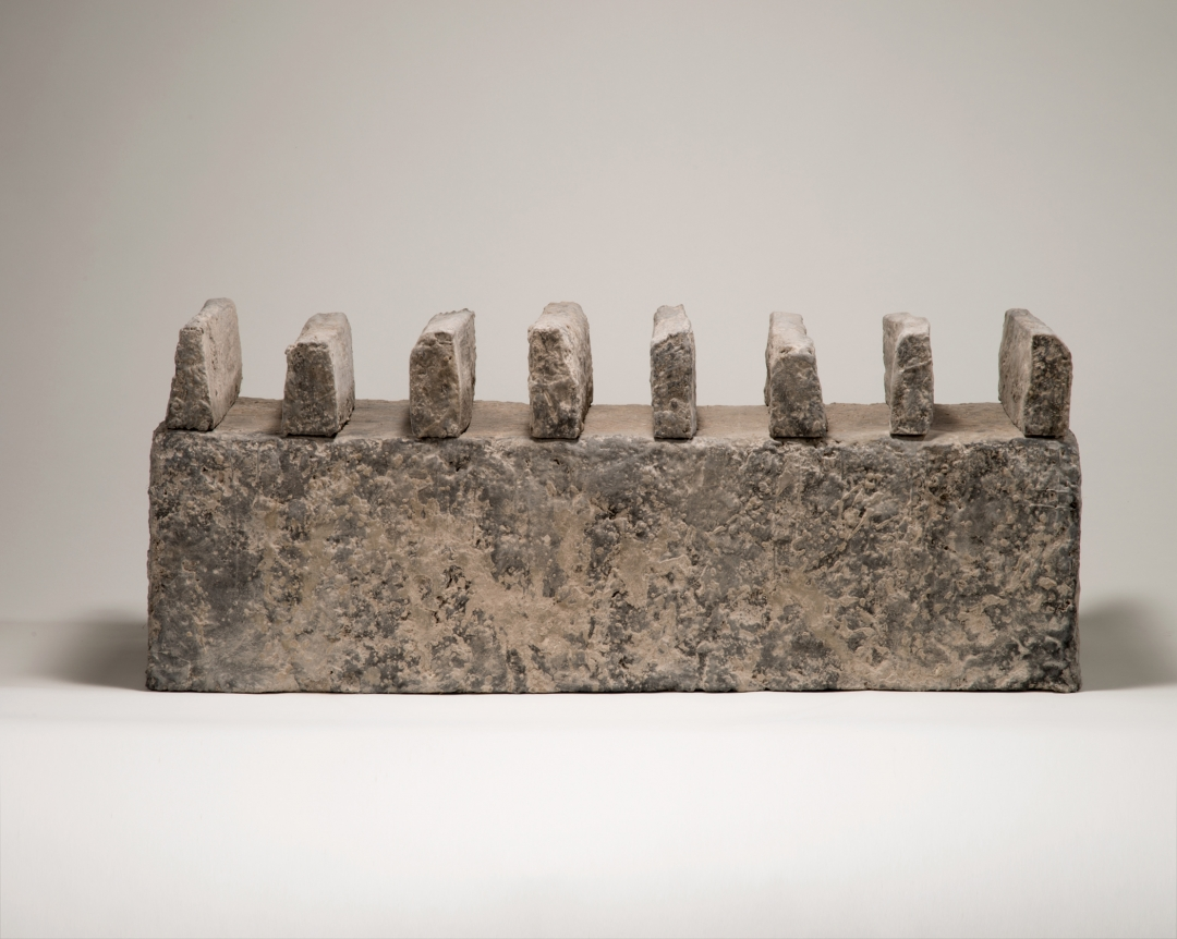 Richard Fleischner, <i>Untitled Construction</i>, 2016, wood, earthen-plaster, pigmented beeswax, ash, 13 1/2 x 35 1/8 x 14 inches (34 x 89 x 35.5 cm)