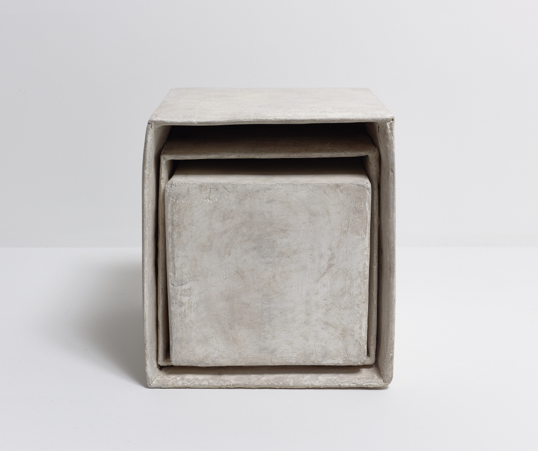 Richard Fleischner, <i>Three boxes</i>, 2014, cardboard, plaster, paint, 10 3/8 x 9 1/4 x 10 1/8 inches (26.3 x 23.4 x 25.7 cm)