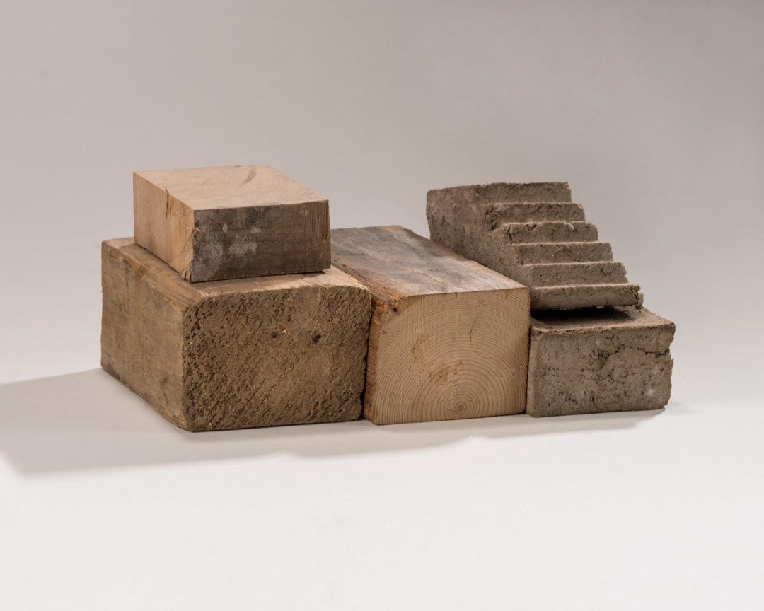 Richard Fleischner, <i>Untitled Construction</i>, 2015, wood and cast earthen plaster, 4 7/16 x 10 15/16 x 7 1/2 (11.3 x 28 x 19 cm)
