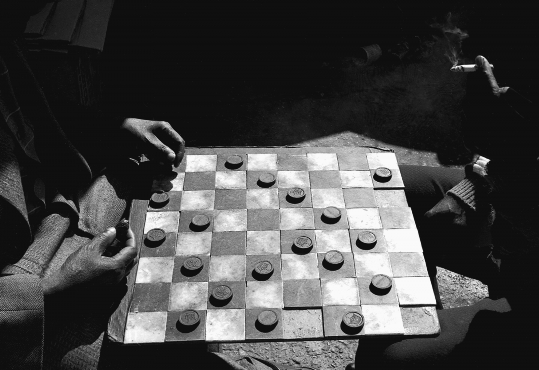 Richard Fleischner, <i>Checkers</i>, 1963, silver gelatin print, 11 x 14 inches (27.9 x 25.6 cm)