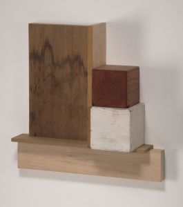 Richard Fleischner, <i>Untitled Construction</i>, 2019, wood and gouache, 10 7/8 x 11 1/8 x 3 inches (27.6 x 28.3 x 7.6 cm)