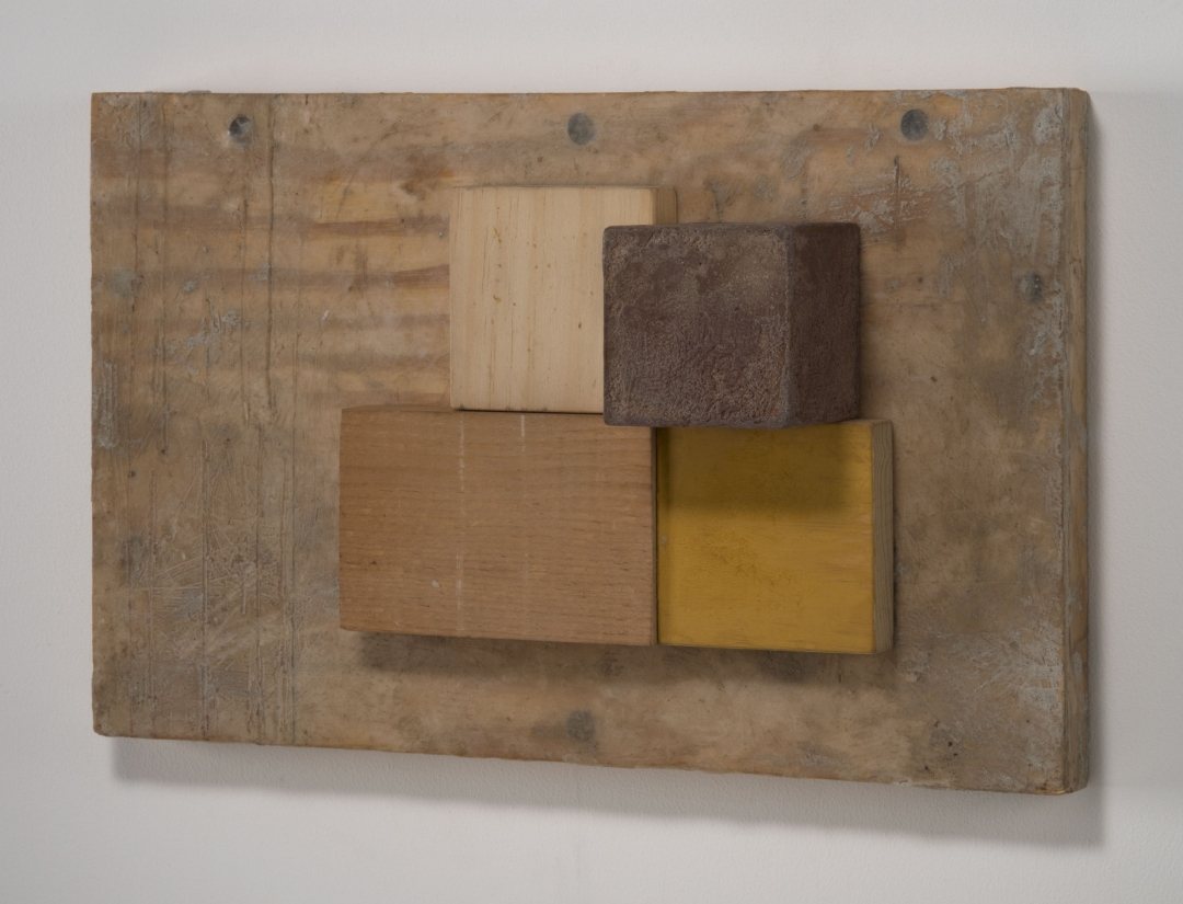 Richard Fleischner, <i>Untitled Construction</i>, 2019, wood, pigmented beeswax, and gouache, 8 7/8 x 14 x 4 5/8 inches (22.5 x 35.6 x 11.7 cm)