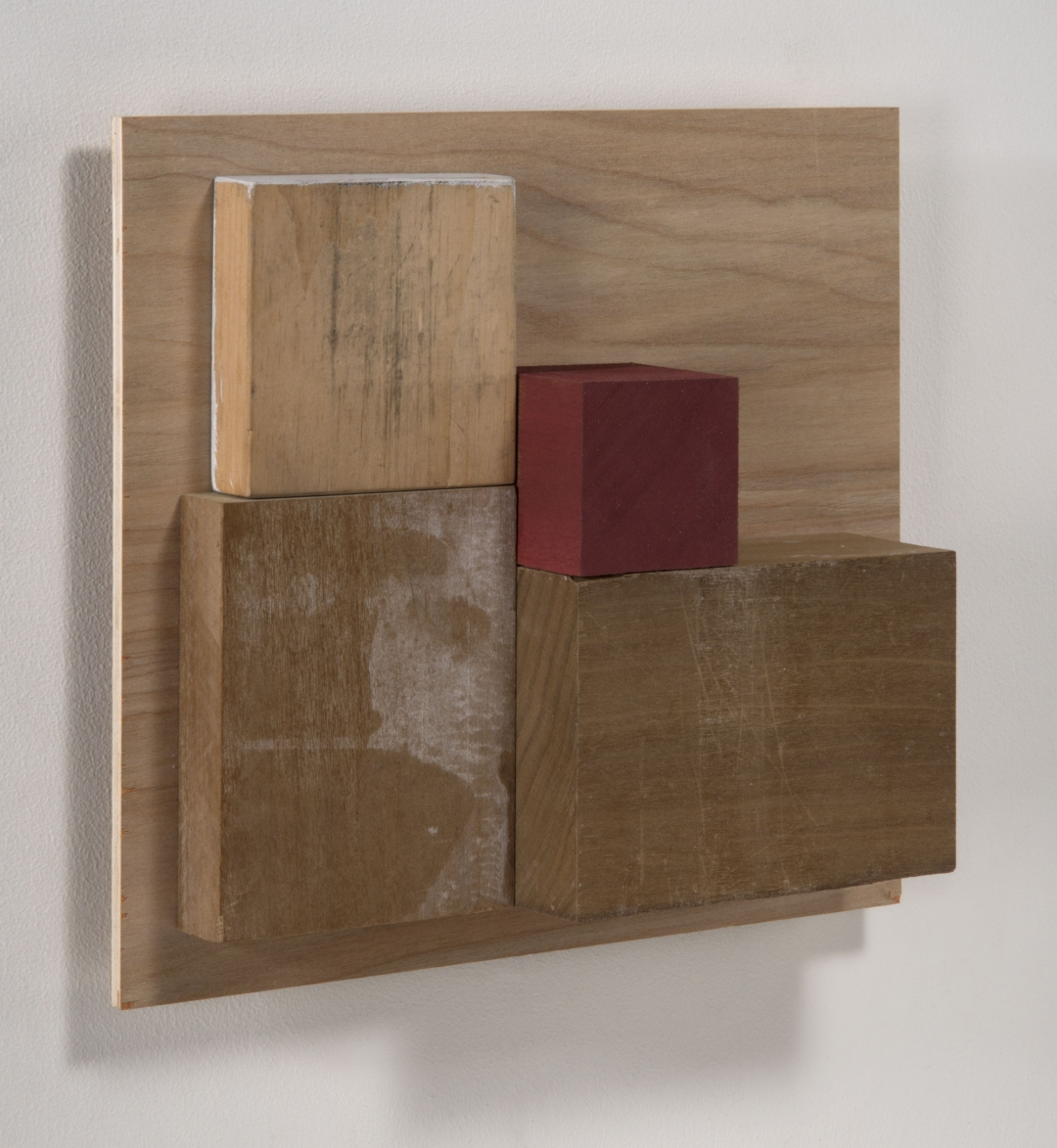 Richard Fleischner, <i>Untitled Construction</i>, 2019, wood and gouache, 8 3/8 x 9 1/8 x 2 1/2 inches (21.3 x 23.2 x 6.4 cm)