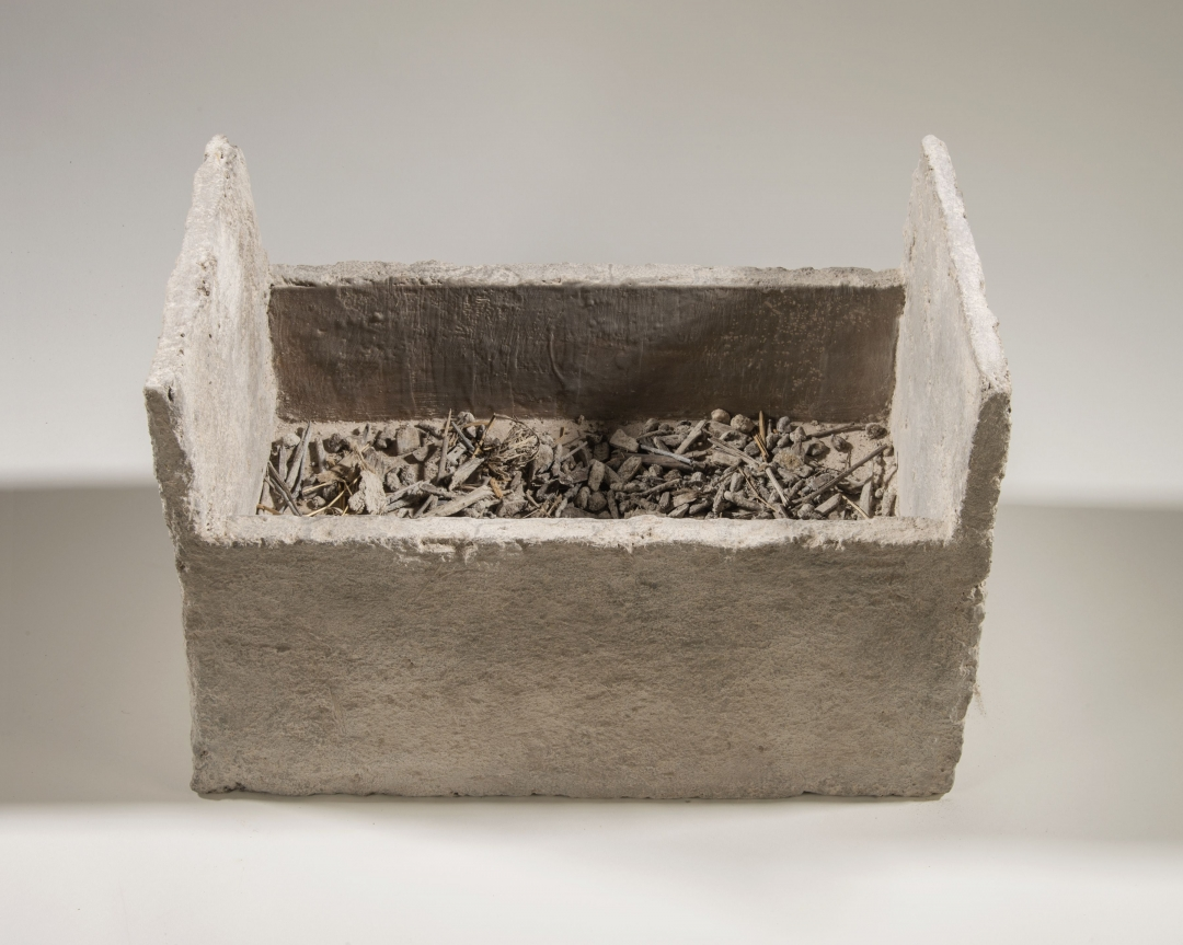 Richard Fleischner, <i>Untitled Construction</i>, 2016, wood, earthen-plaster, pigmented beeswax, ash, 14 1/2 x 21 1/4 x 12 inches (36.8 x 54 x 30)