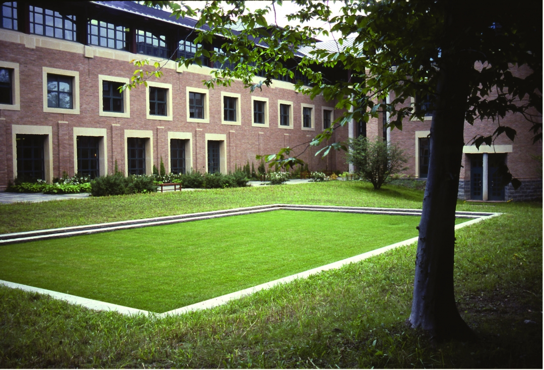 Richard Fleischner, <i>Becton Dickinson Project</i>, 1985-87, detail of exterior garden terrace area, with stepped grass plane. Work included all aspects of the site in Franklin Lakes, New Jersey,