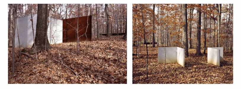 Richard Fleischner, <i>Baltimore Project</i>, 1980, ten steel and granite elements on a two-acre site, Woodlawn, Maryland. Left: secondary axis from granite cube, steel plane, horizontal plane; right: secondary axis from implied cubes toward steel plane.,