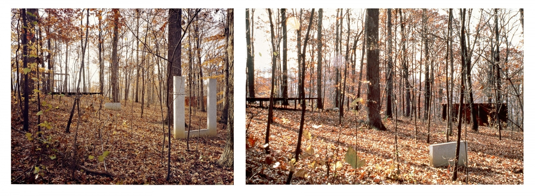 Richard Fleischner, <i>Untitled</i>, 1980, ten steel and granite elements on a two-acre site, Woodlawn, Maryland. Left: detail of column walls; right: primary axis between building and woods, approx. 350 feet in length.,