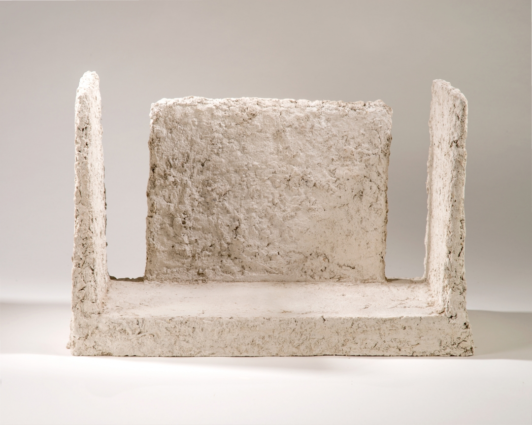 Richard Fleischner, <i>Untitled Construction</i>, 2016, steel, earthen-plaster, milk paint, 15 1/4 x 22 1/4 x 12 1/2 inches (38.7 x 56.5 x 31.8 cm)
