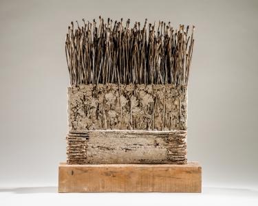 Richard Fleischner, <i>Untitled Construction</i>, 2016, wood, cardboard, earthen-plaster, catalpa pods, 25 1/2 x 20 1/4 x 5 7/8 inches (64.8 x 51.4 x 14.9 cm)