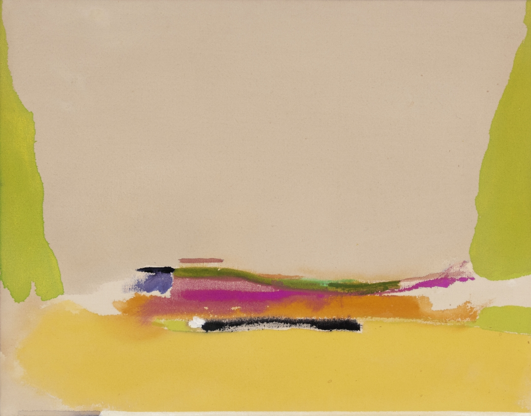 Helen Frankenthaler, <i>Untitled</i>, 1974, acrylic on unprimed canvas, 18 3/4 x 24 in (47.6 x 61 cm)