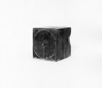 Richard Fleischner, <i>Pin Box</i>, 1970, cast pewter, 5 x 5 x 5 in (12.7 x 12.7 x 12.7 cm)
