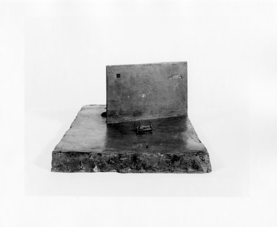 Richard Fleischner, <i>Figure on bench</i>, 1967, cast bronze, 6 1/2 x 11 x 15 in (16.5 x 27.9 x 38.1 cm)