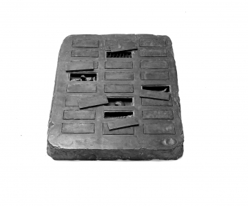 Richard Fleischner, <i>Fortune Game</i>, 1973, cast pewter with 24 removable lids, each lid containing a charm made by one of 24 people, 1 x 12 x 16 in (2.5 x 30.5 x 40.6 cm)