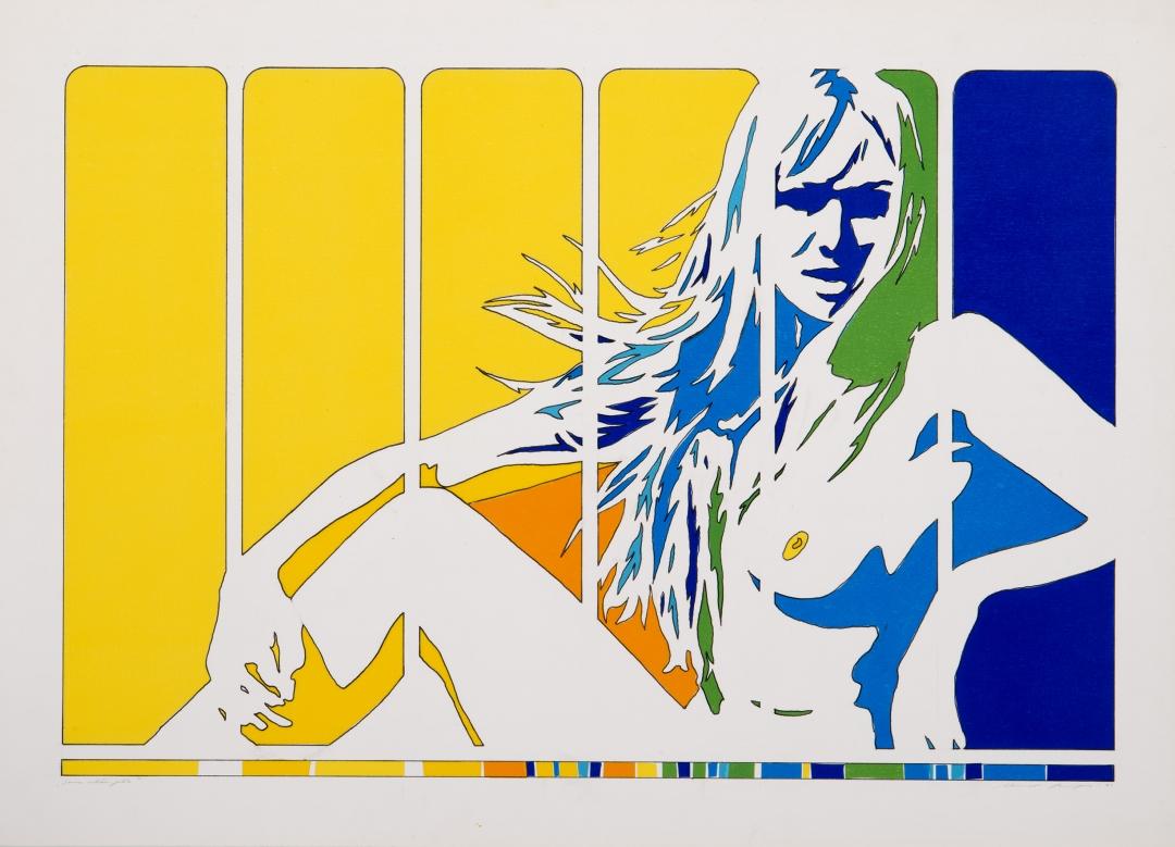 Werner Berges, <i>Ganz schön gelb</i>, 1971, mixed media on cardboard, 21 7/8 x 30 3/4 in (55.5 x 78 cm)