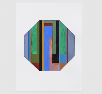 Anton Ginzburg, <i>Translucent Concrete Series, Study #14</i>, 2020, gouache and colored pencil on paper, 15 x 20 in (38 x 51 cm)