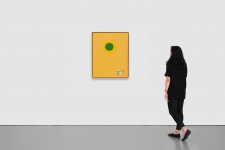 Adolph Gottlieb, <i>Green Disc</i>, 1969, oil on linen, 30 x 24 in. (76.2 x 61 cm)