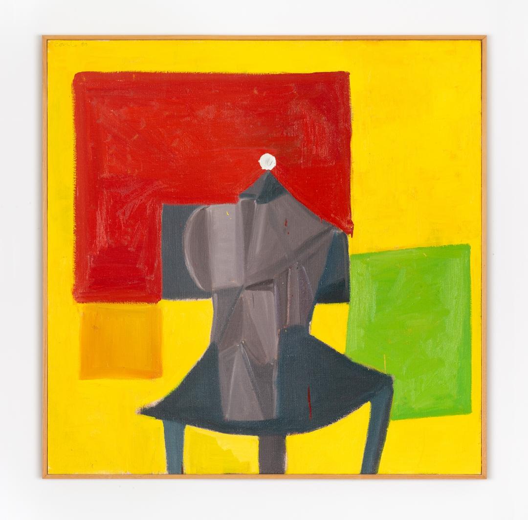 George Condo, <i>Titan's Green Square</i>, 1989, oil on canvas, 48 x 48 in. (121.9 x 121.9 cm)